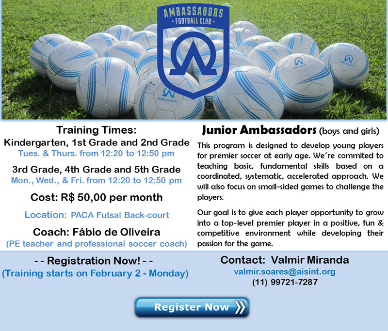 Ambassador Soccer Clinics for Elementary Students - 2nd Semester