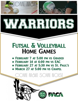School's Futsal and Volleyball Home Game Schedule